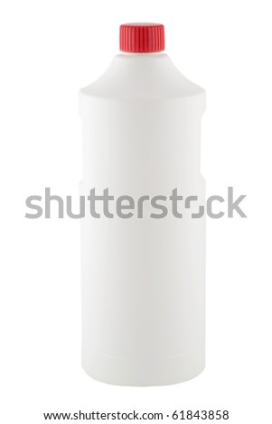 White plastic bottle red cap isolated on white