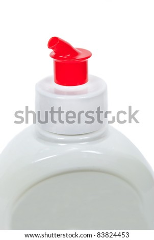 White plastic bottle with red cap