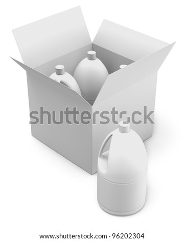 White plastic bottles and cardboard Box