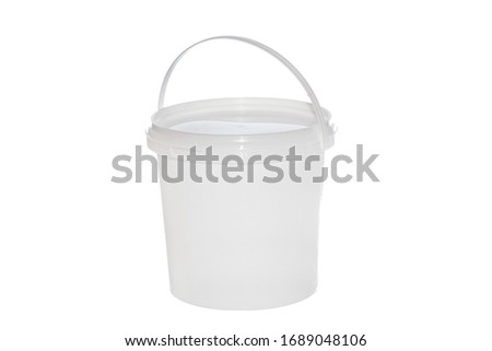 White plastic bucket with handle on white background. Isolated  ストックフォト ©