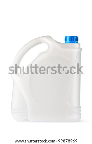 White plastic canister for household chemicals. Isolated on a white.