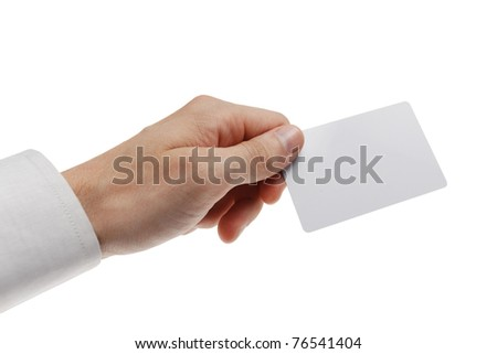 White plastic card in man hand. Isolated on white