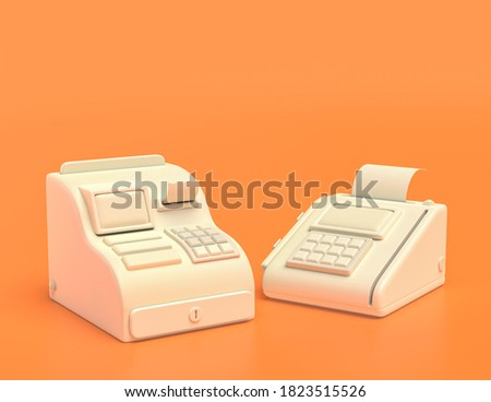 white plastic cash register machine, cashier and pos machine, credit card machine  in yellow orange background, flat colors, single color, 3d rendering, supermarket