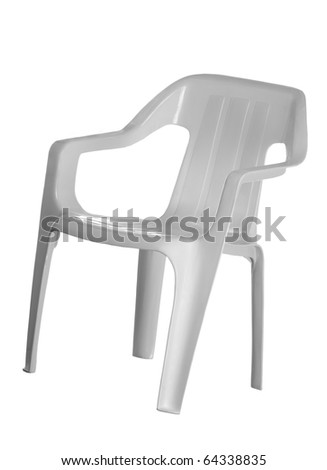White plastic chair for kids; isolated on white background