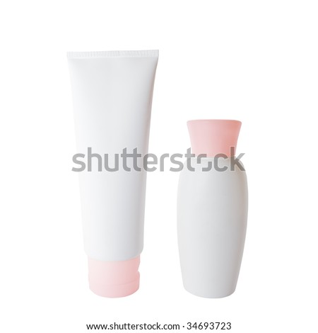 White plastic cream tube and bottle isolated over white
