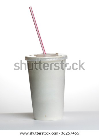 White plastic cup and straw isolated