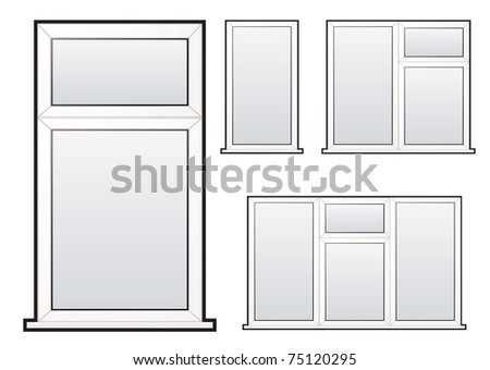 White plastic double glazed window illustration collection concept