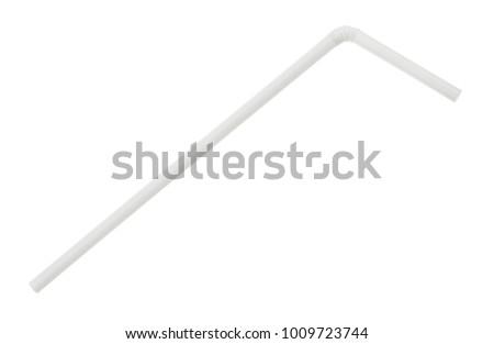 White plastic drinking straw isolated on white background. Stock photo ©