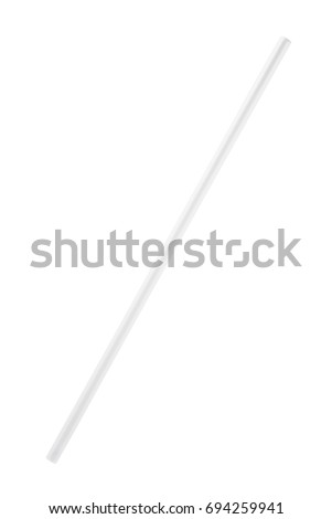 White plastic drinking straw isolated on white background #694259941