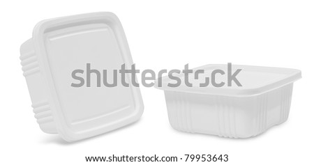white plastic food container. isolated over white background (2 view)