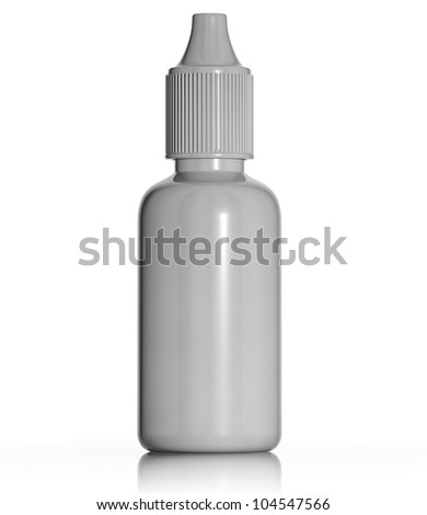 White plastic medical bottle isolated on white background, blank for label, 3d.