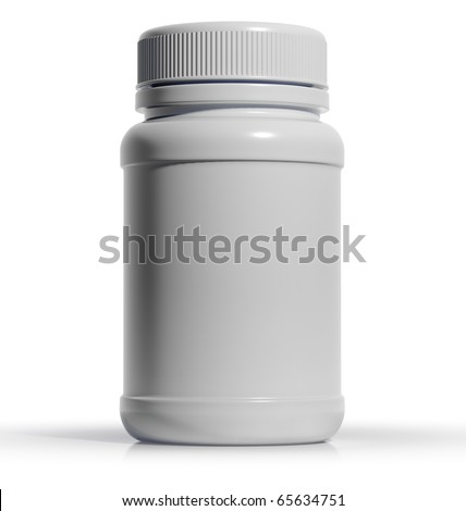 White plastic medical container for pills or capsules. Blank for label. 3d