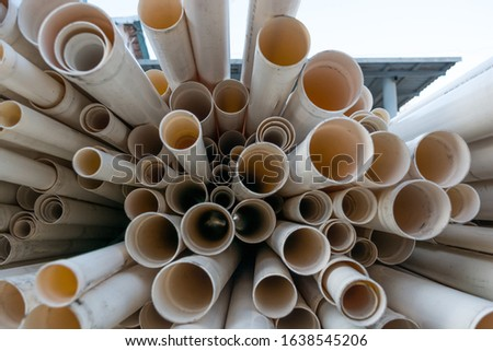 White plastic pipes designed for irrigation