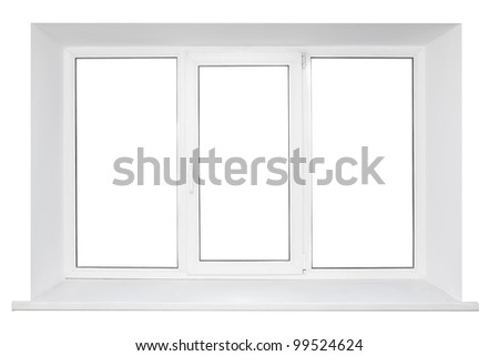 White plastic triple door wide window. Isolated on white background.