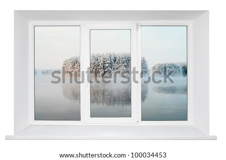 White plastic triple door window with tranquil view through glass. Isolated on white background.