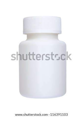 white plastic vial from medications isolated on white background