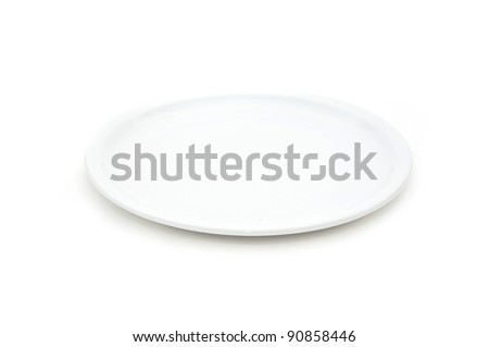 White plate. Empty flat plate over white background.