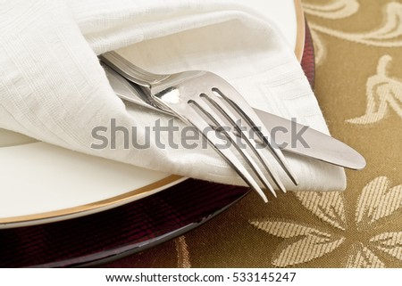 White plate, fork and knife #533145247