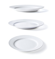 white plate in three dimensions on a white background