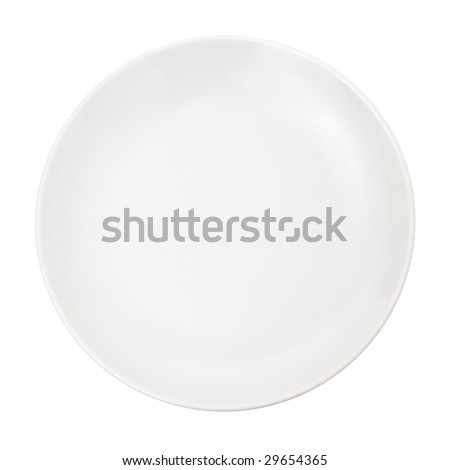 White plate isolated on white.