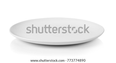 Photo of  white plate isolated on white background