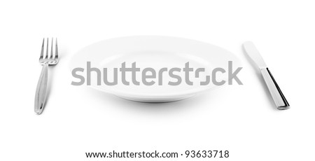 white plate, knife and fork cutlery isolated with clipping paths included