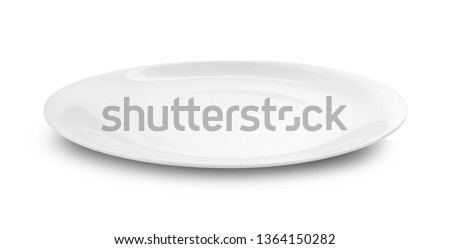 white plate on white background.