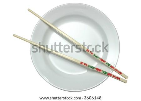 White plate with chopsticks isolated on white