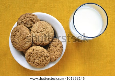 white plate with oat cookies and glass with milk
