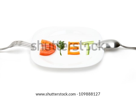 White plate with word diet composed of slices of different fruits and vegetables
