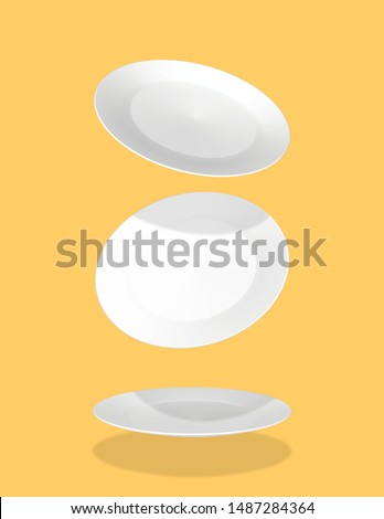 White Plates falling, different angle plates, white, isolated yellow background, 3 plates utensils floating in the background, rendering - 3D Illustration