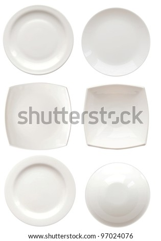 white plates isolated on white