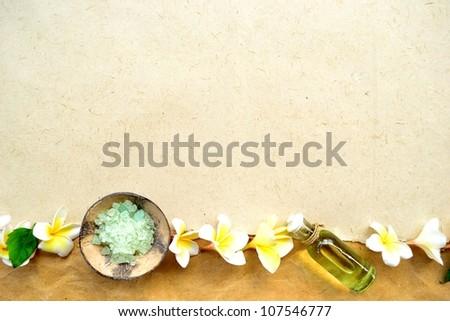 White plumeria with spa supplies