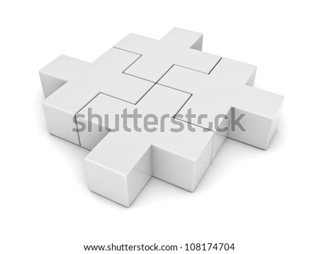 White plus jigsaw puzzle pieces on white background