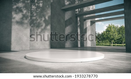 White podium for products show in concrete hallway with park background.3D rendering.