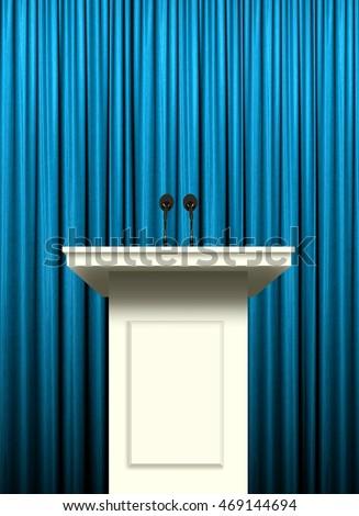 white podium over blue curtain background #469144694