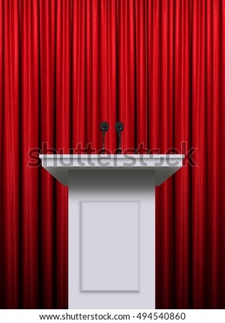 White podium over red curtain background #494540860
