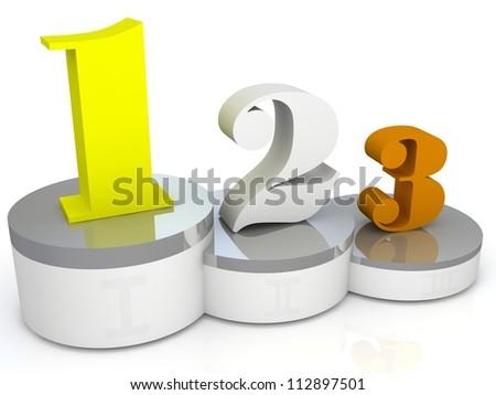 White podium with three places