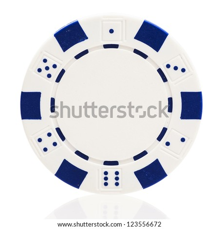 White poker chip isolated on white