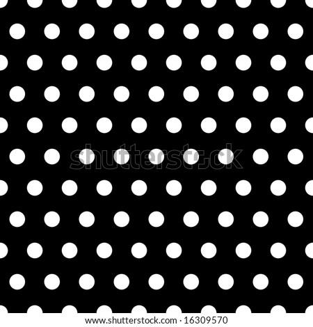 White polka dots illustration on black background