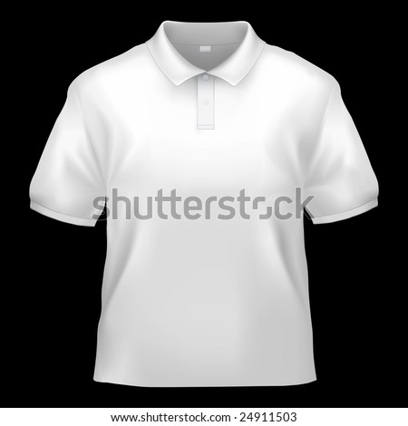 White polo shirt design template (isolated on black, clipping path)