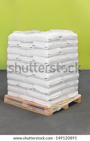 White polypropylene sacks at transport pallet