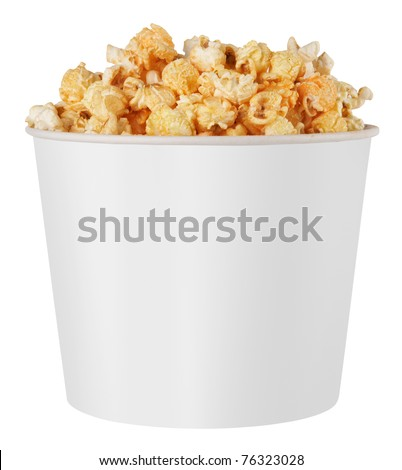 white popcorn box isolated on white background