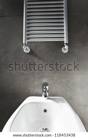 White porcelain bidet and heater