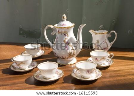 White porcelain set for tea or coffee