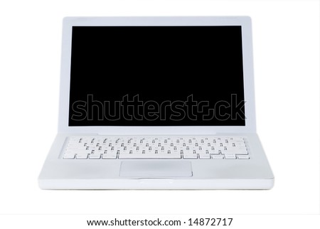 White portable computer isolated on a white background.