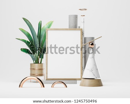 White poster and geometric figures. 3D rendering #1245750496