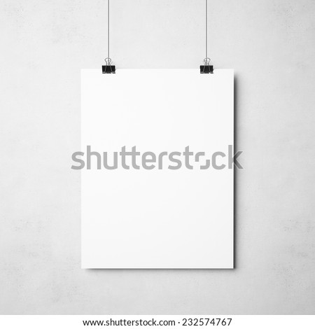 white poster on concrete background