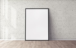 White poster on floor with blank frame mockup for you design. Layout mockup good use for your design preview.