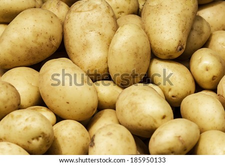 White Potato background. Food background. Group of potatoes on display at the market.